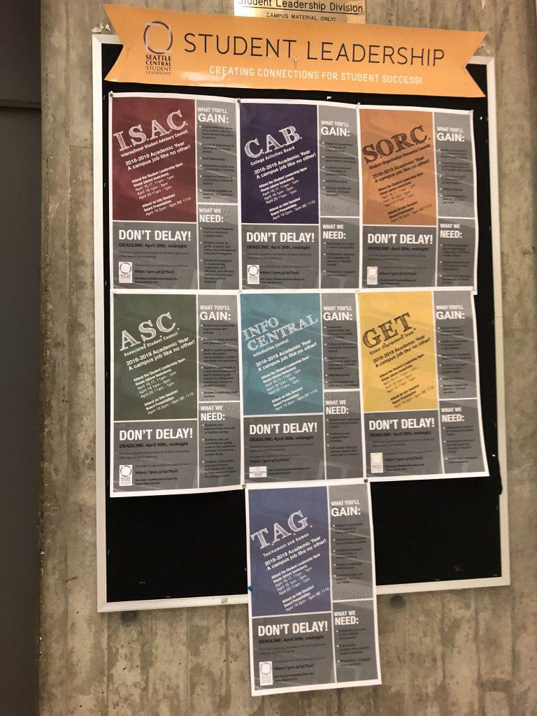 Student Leadership hiring posters.