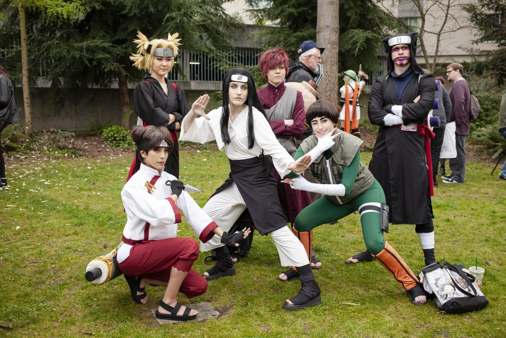 Cosplayers pose at Sukura-Con
