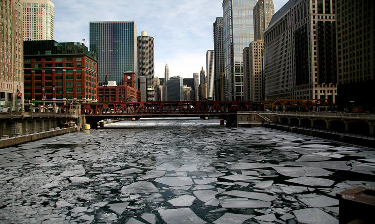 Frozen River in Downtown Chicago