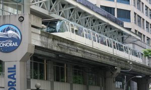 Seattle Monorail arriving at Westlake Station, shot from below