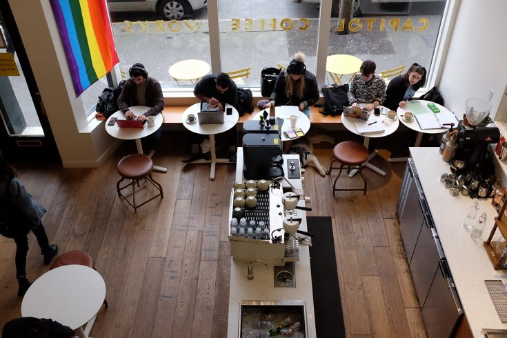 A view from the loft at Capitol Coffee Works.