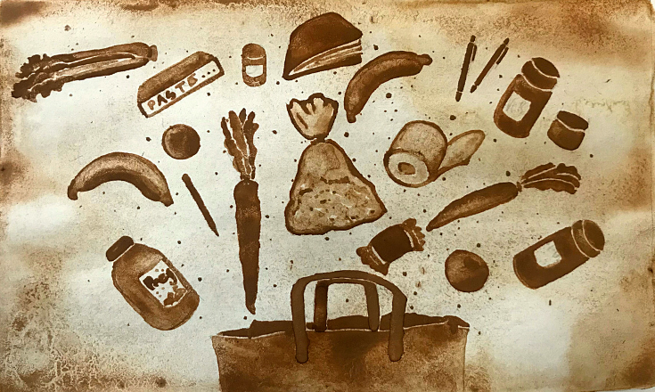 Food supply - cocoa powder painting