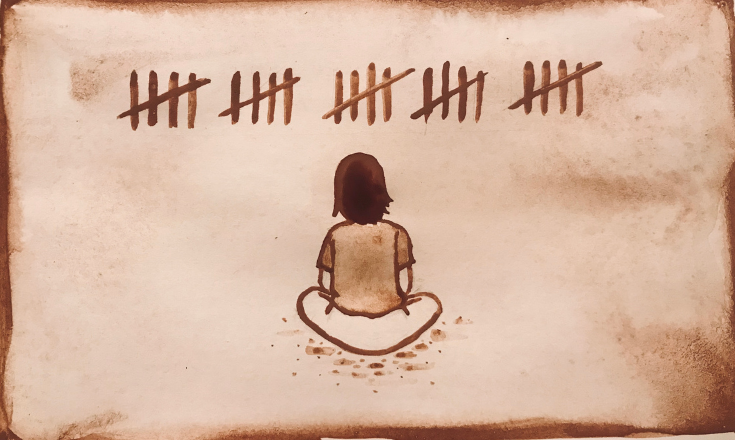 Breath Counting Meditation - cocoa powder & coffee painting