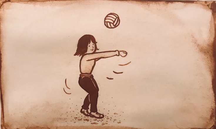 Passing the volleyball - cocoa powder & coffee painting