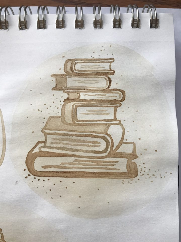 Second-hand books - coffee painting