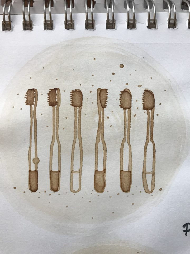 Bamboo toothbrushes - coffee painting
