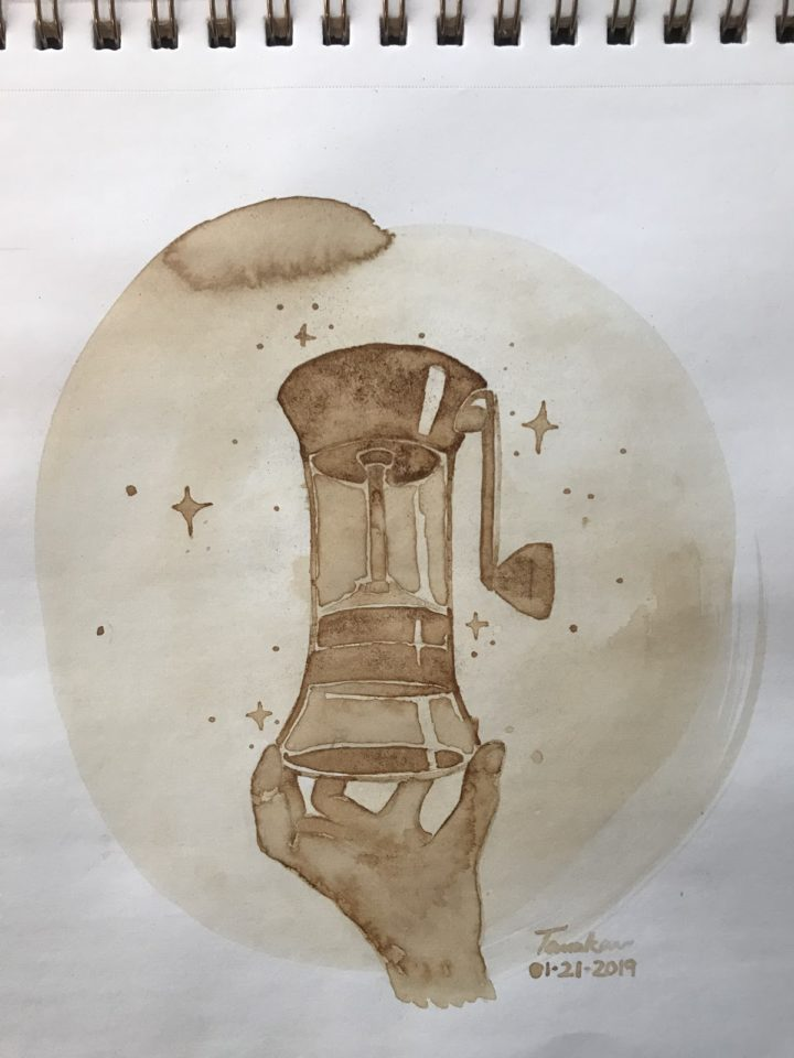 Coffee bean hand grinder - coffee painting