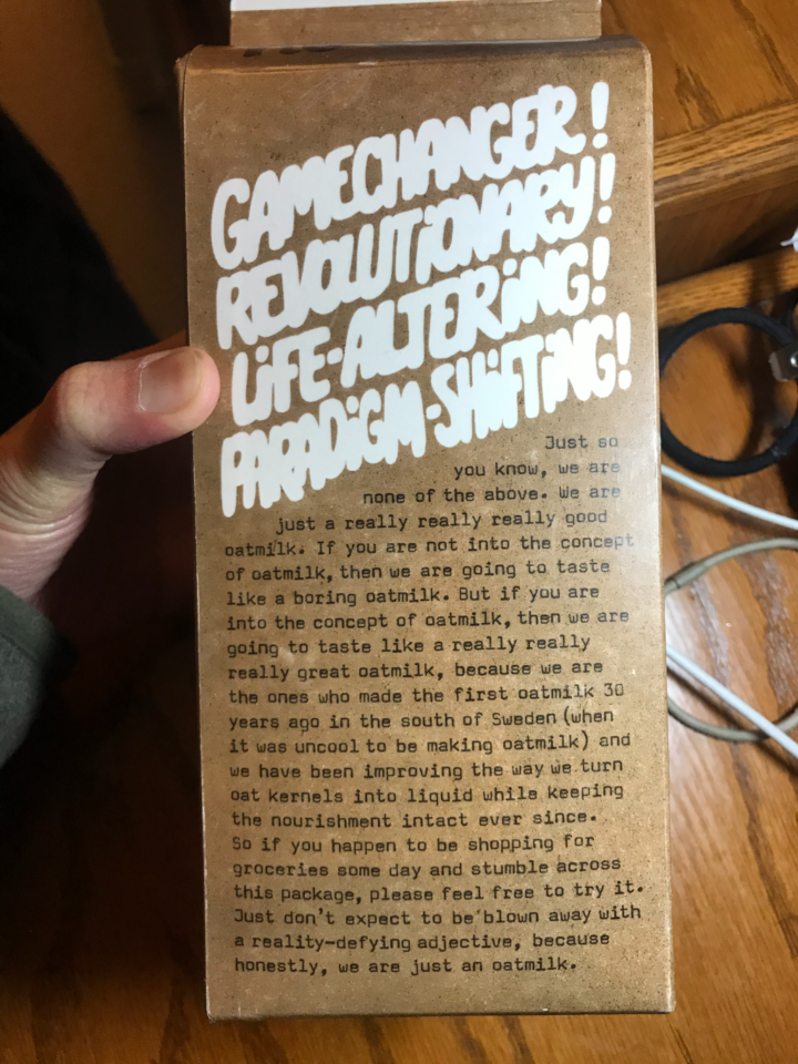 Message on Oatly's packaging