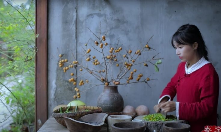 Li Ziqi chopping chillies