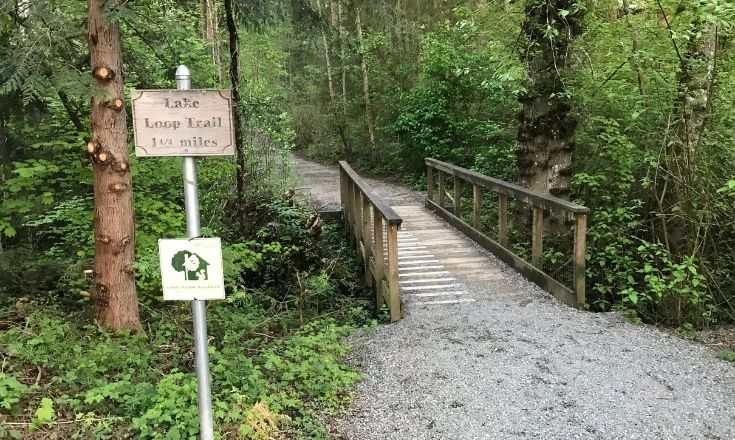 Sign showing the loop trail's distance