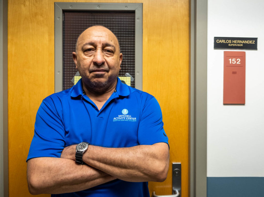 Hernandez in front of his office at the MAC