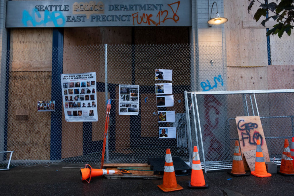 After the formation of CHAZ, protestors displayed the names of those killed by police directly in front of the abandoned East Precinct station.