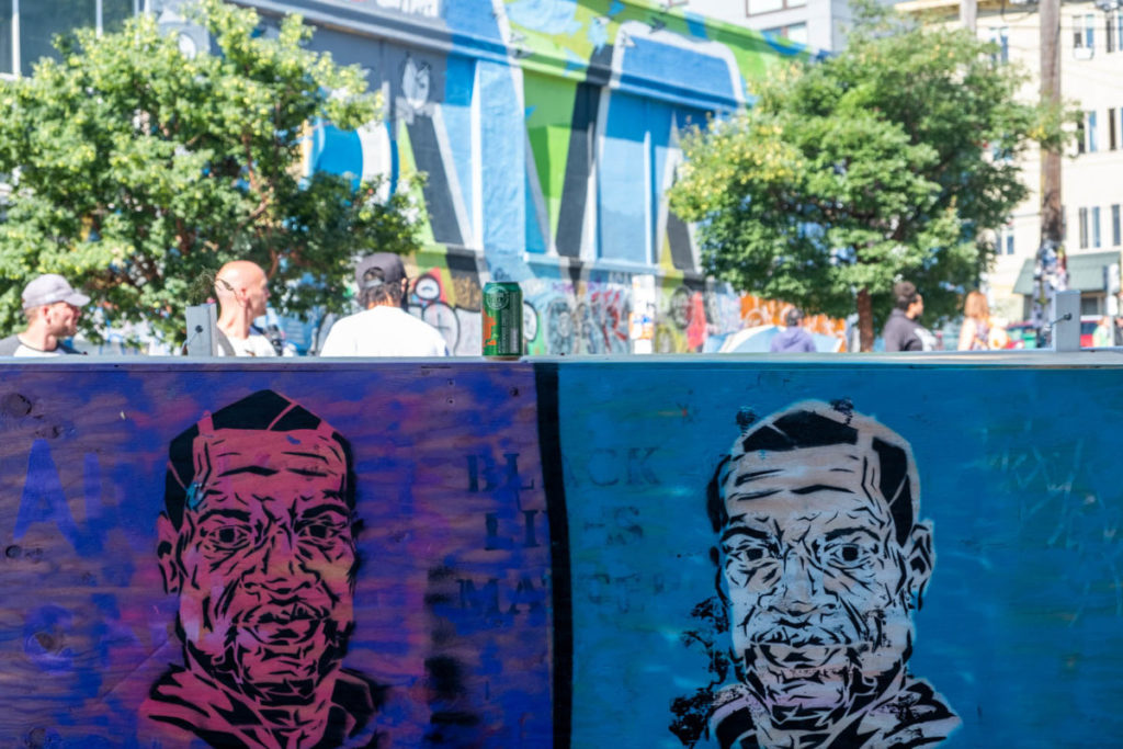 George Floyd artwork displayed on one of the many barricades that lined Pine Street in the Capitol Hill Autonomous Zone (CHAZ).