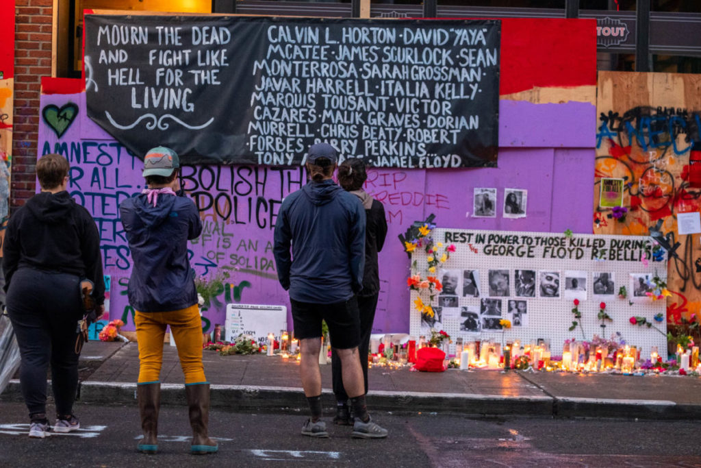Days after the Capitol Hill Autonomous Zone (CHAZ) was established, community residents memorialized those who had been killed during protests in the wake of George Floyd's murder.